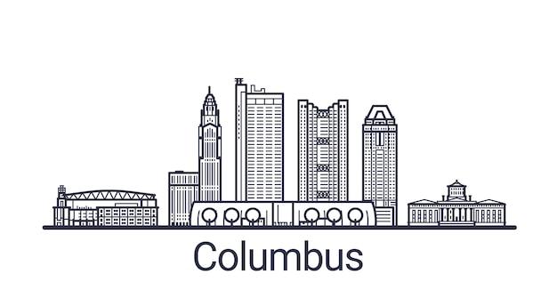 Линейное знамя города колумба. все здания - настраиваемые различные объекты с обтравочной маской, поэтому вы можете изменять фон и композицию. штриховая графика.