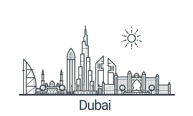 Линейное знамя города дубай. все здания - настраиваемые различные объекты с фоновой заливкой, так что вы можете изменить композицию для своего проекта. штриховая графика.