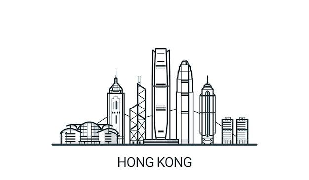 Линейный баннер города гонконг в рисованной