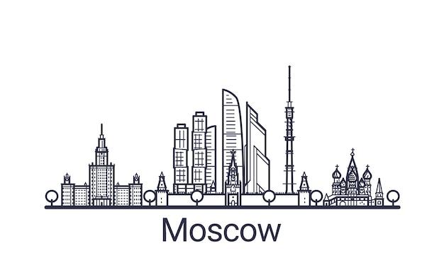 Линейное знамя города москвы. все здания москвы искусство.