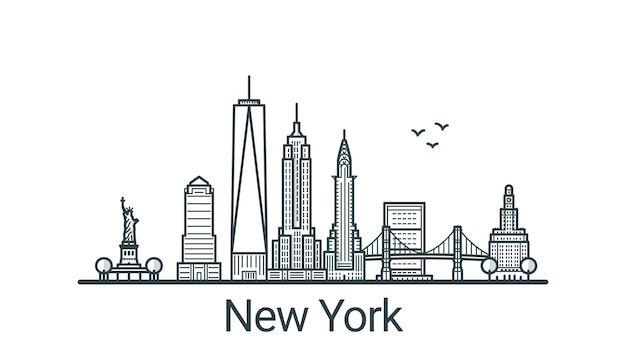 Линейное знамя города нью-йорка. все постройки