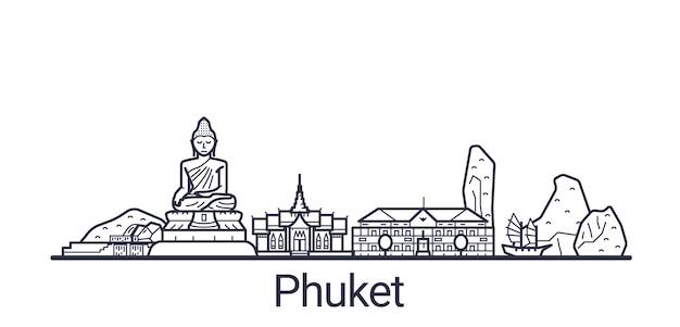 Линейное знамя города пхукет. все постройки пхукета искусство.