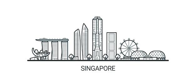 手描きのシンガポール市の線形バナー