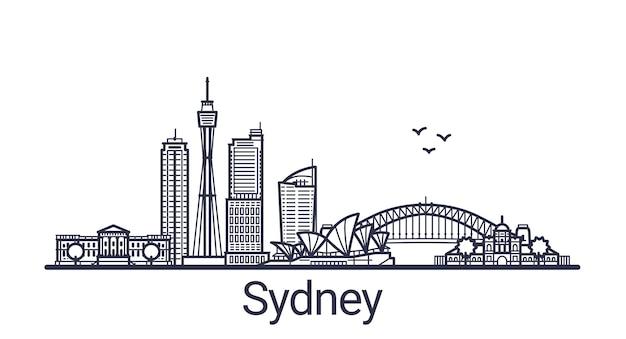 Линейный баннер города сидней в рисованной