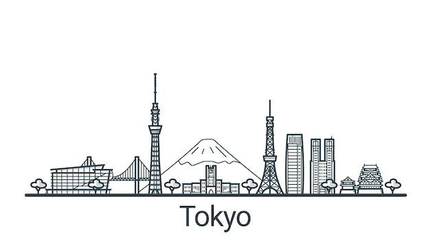 手描きの東京市の線形バナー