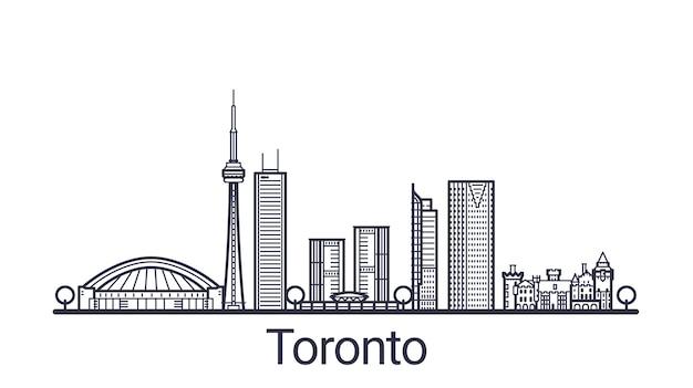 Линейный баннер города торонто в рисованной