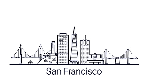 Linear banner of san francisco city. all san francisco buildings  art.