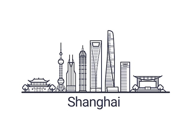 Linear banner of shanghai city in hand drawn