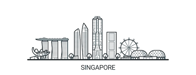 Linear banner of singapore city in hand drawn