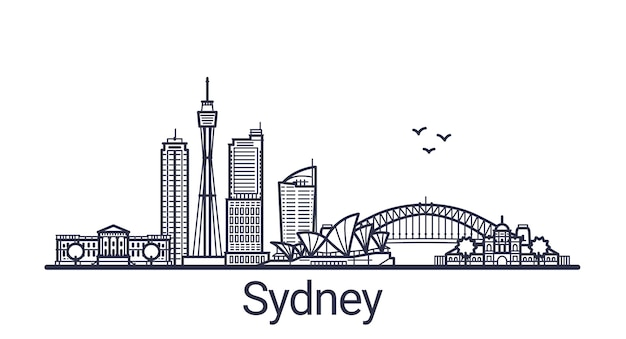 Linear banner of sydney city in hand drawn