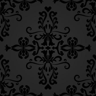 Линейный черный дамасской бесшовные векторные шаблон
