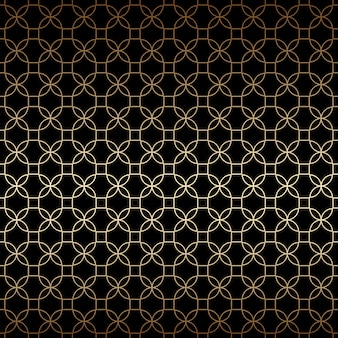 Linear black and gold geometric seamless pattern with stylized flowers, art deco style