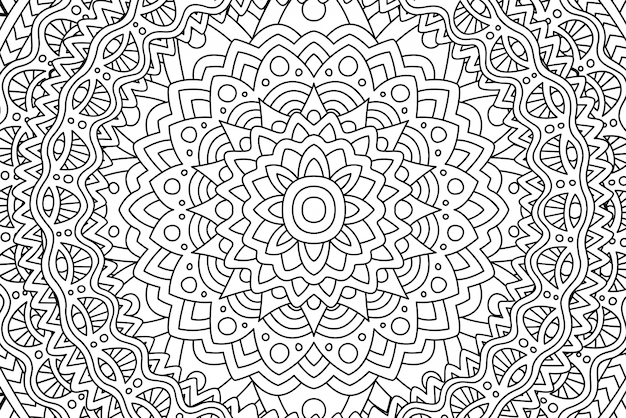 Linear black and white pattern for coloring book
