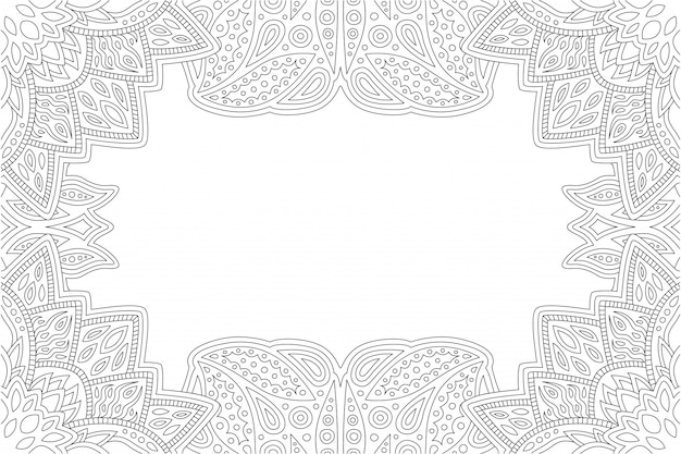 Linear border for adult coloring book page