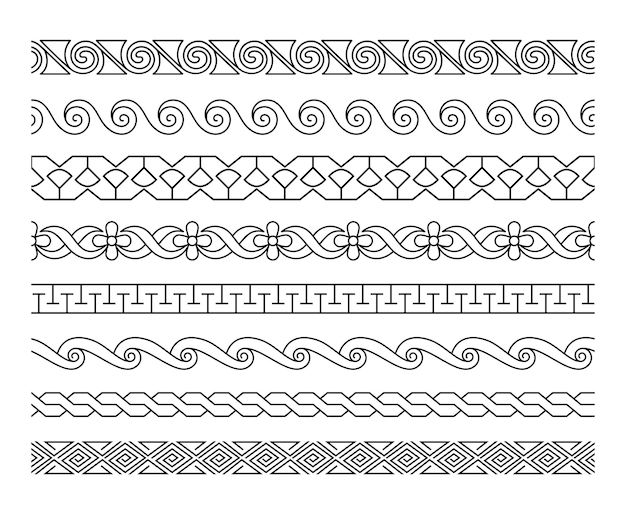 선형 테두리 패턴. 장식 lacework 테두리 텍스처 템플릿 세트