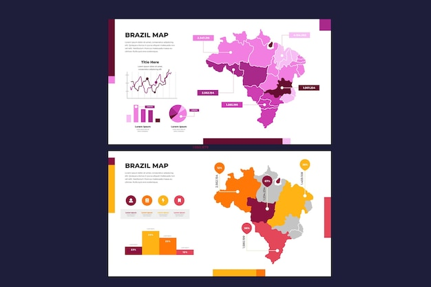 Brasile lineare mappa infografica