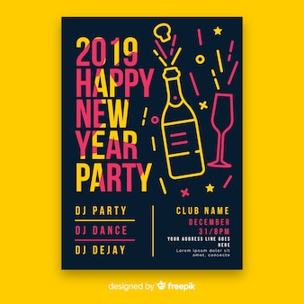 Linear champagne new year poster template