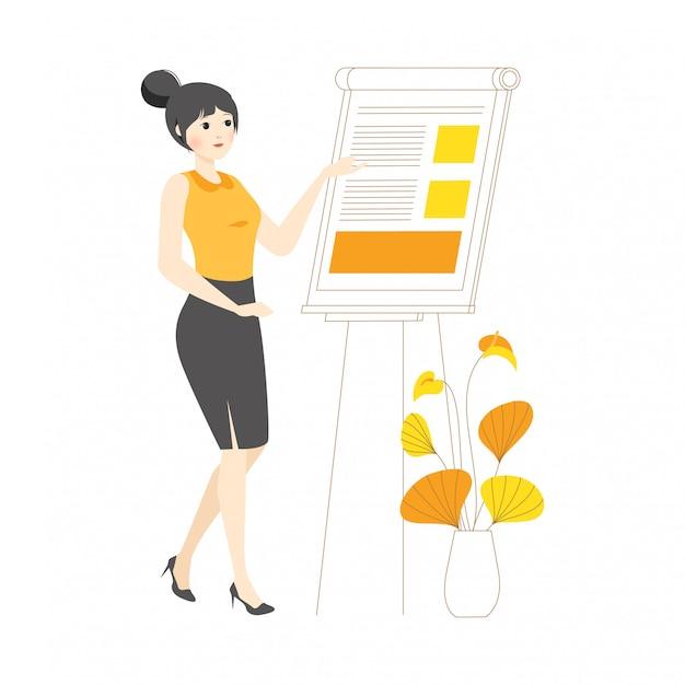 線形文字女性女の子コンセプトイラストプレゼンテーションプレゼンテーションボードの説明