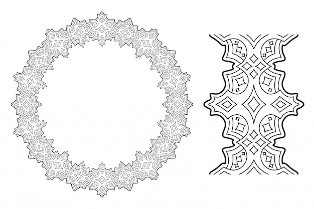 Linear clip art with abstract starry wreath