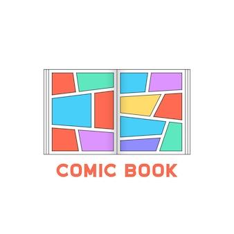 線形色の漫画本のロゴ。メッセージタグのコンセプト、面白い、超人的、広告、tpb、空きスペース、スーパーヒーローストーリー。白い背景の上のフラットスタイルのトレンドモダンなロゴタイプのグラフィックデザイン