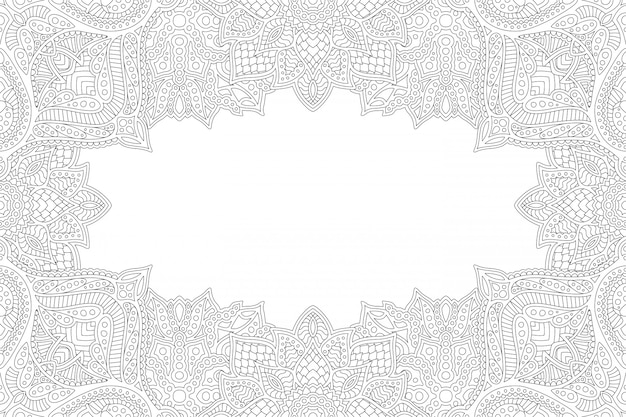 Linear coloring book zen design with copy space