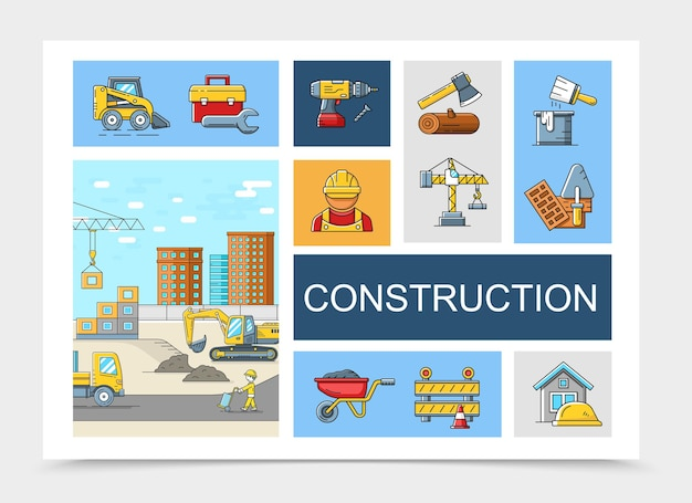 Linear construction elements collection with toolbox forklift drill builders ax crane brush bucket trowel trolley truck excavator construction site   illustration