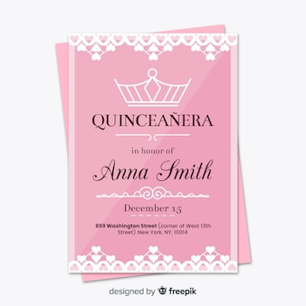 Linear crown quinceanera party card