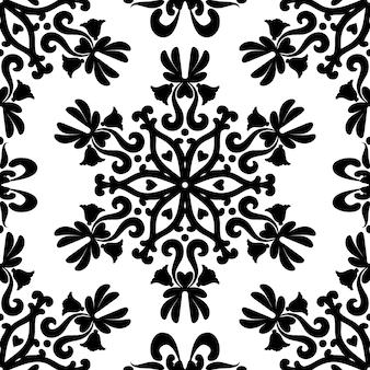 Линейный дамасской бесшовные векторные шаблон черный и белый