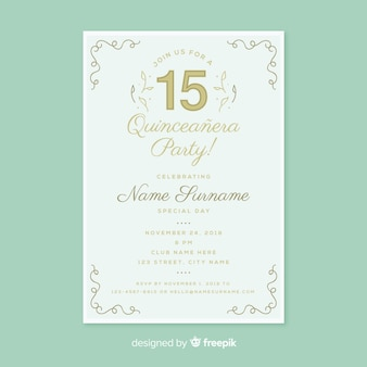 Linear decoration quinceanera card template