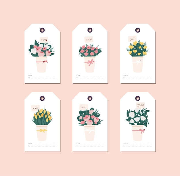 Linear design beautiful flowers bouquet on white background. greeting tags set with typography and colorful icon.