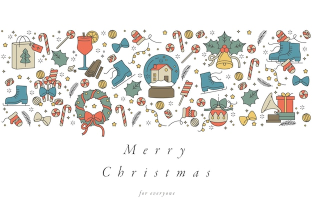 Linear design for christmas greetings card colorful
