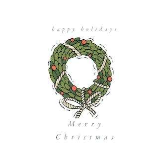 線形デザイン白い背景の上のクリスマスの挨拶要素