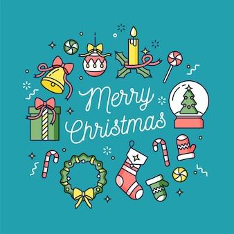 선형 디자인 크리스마스 인사. 크리스마스의 타이포그래피 중앙 아이콘. 겨울 휴가 디자인 요소