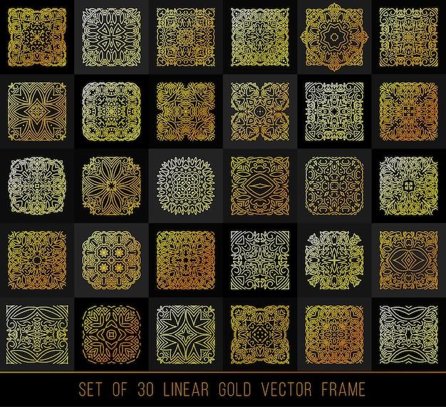 Элементы линейного дизайна. большой набор золотых украшений для вашего дизайна, флаера, продвижения, приложения.