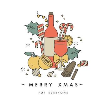 Линейный дизайн для рождественской открытки красочный цвет