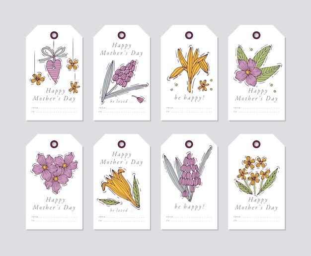 어머니의 날 인사말 요소에 대한 선형 디자인. 봄 휴가 태그는 인쇄 술과 화려한 아이콘으로 설정합니다.