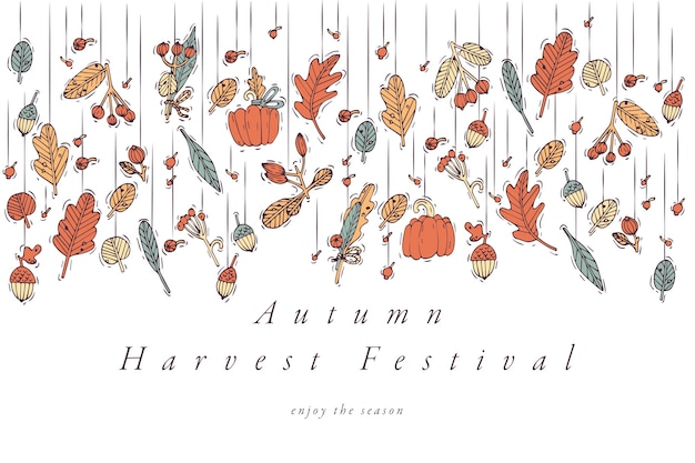 Linear design harvest festival greetings card. typography ang icon for autumn holiday background, banners or posters and other printables.