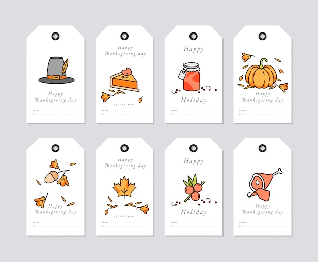 Linear design thanksgiving day greetings card. thanksgiving holiday tags set with typography and colorful icon.