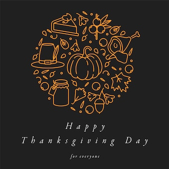 Linear design thanksgiving day greetings card. typography and icon for autumn holiday background, banners or posters and other printables.
