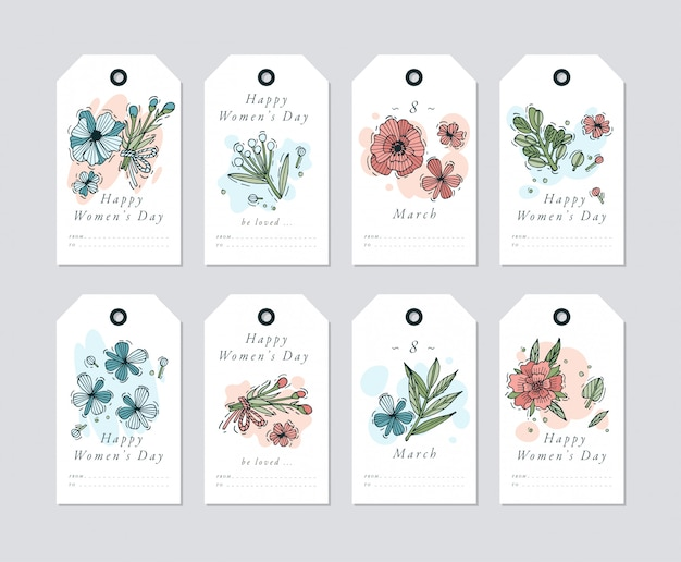 Linear design for women's day greetings elements on white background. spring golidays tags set with typography and colorful icon.