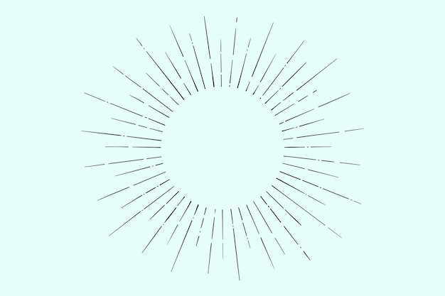 Linear drawing of light rays sunburst