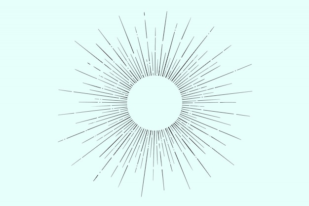 Linear drawing of light rays, sunburst