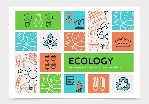 Linear ecology infographic template