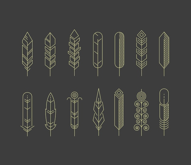 Linear feathers icon set