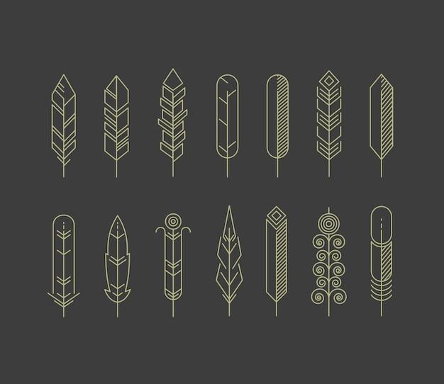 Набор иконок линейных перьев