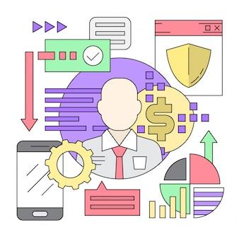 Icone di stile lineare web minimal e elementi di business
