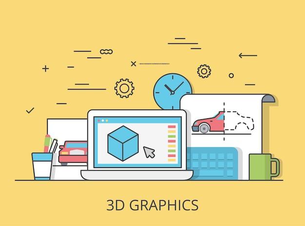リニアフラット3dグラフィックサービスのウェブサイトのヒーロー画像のイラスト。デジタルアートツールとテクノロジーのコンセプト。ラップトップ、スケッチ、モデリングソフトウェアインターフェイス。
