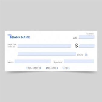 Modello di assegno in bianco piatto lineare