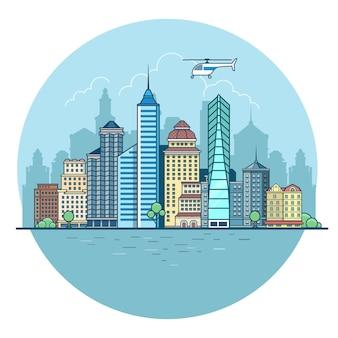 水と空の背景に線形フラットビル、高層ビル、ビジネスセンター、オフィス、家。近代都市、都市生活のコンセプト。