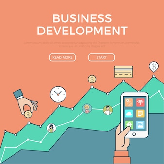 Linear flat business digital development infographics template and icons website hero image vector